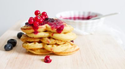 non dairy pancakes with fruit on top